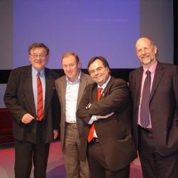 Buhalis with his professors Stephen Wanhill Chris Cooper John Fletcher