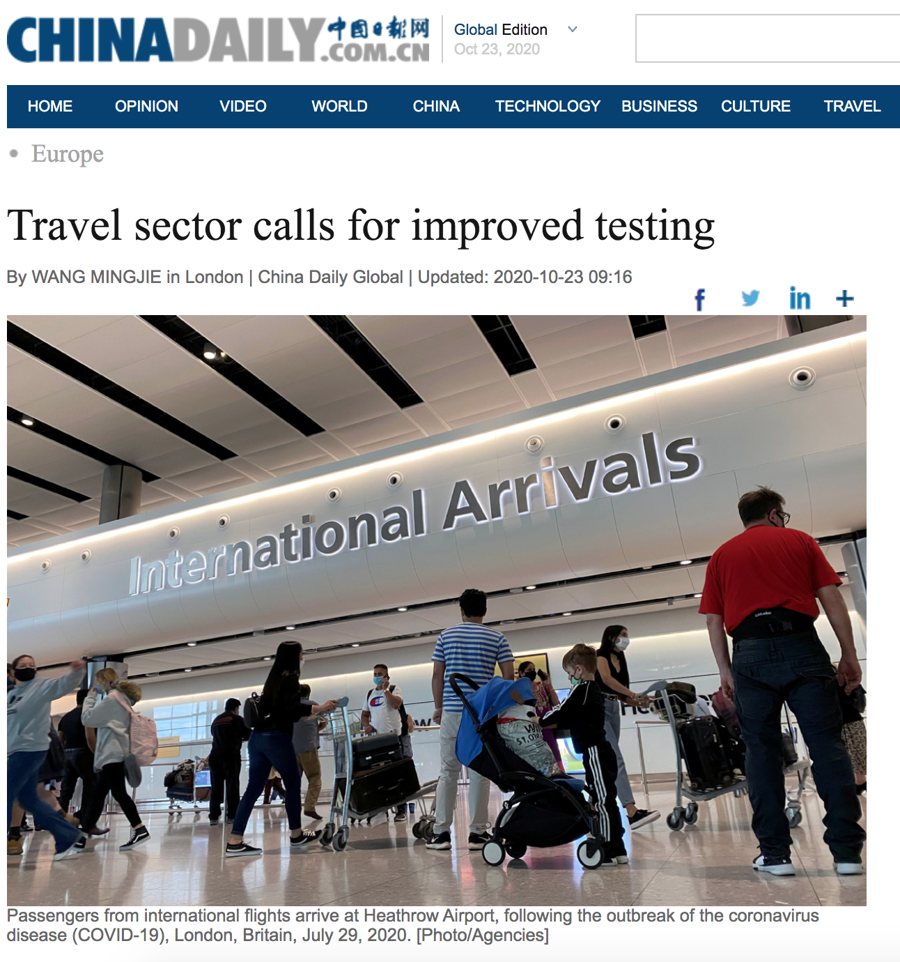 Professor Dimitrios Buhalis interview on Travel sector calls for improved testing at airports #COVID