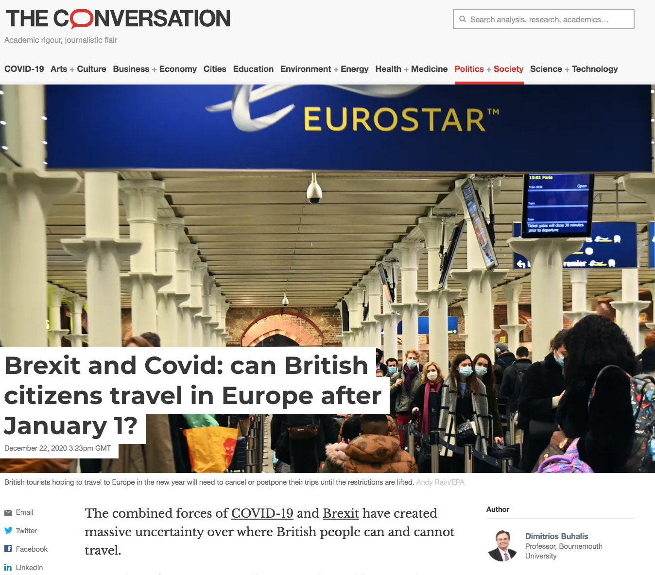 Professor BUHALIS on Brexit and COVID impacts for British Travellers Conversation 22 Dec 20